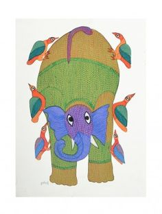 Elephant Gond Painting - 15in X 11in By Durgabai