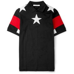 Givenchy Cuban-Fit Star-Appliquéd Cotton-Piqué Polo Shirt (60115 RSD) ❤ liked on Polyvore featuring mens, men's clothing, men's shirts, men's polos e black