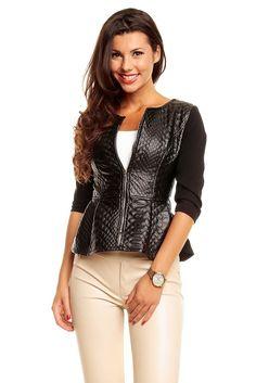 Jacke Blazer Cardigan Bluse mit Schößchen Shirt Top Casual Outfit