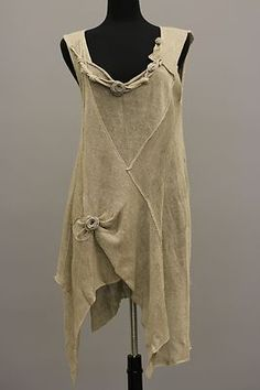 Zuza Bart Designer Artsy Lagenlook Linen Knit Floral Tunic Rose Beige $615 | eBay
