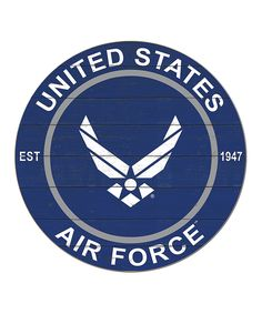 Blue 'United States Air Force' Round Wall Sign. Instill loyalty to your country in all who enter your home with this patriotic wall sign celebrating our brave men and women serving in the United States military. Full graphic text: United States Air Force, Est. 1947.20'' diameterMedium-density fiberboardReady to hang Supersonic Speed, Loyalty, Wall Signs, Brave, Air Force, Cricut, United States, Military, Country