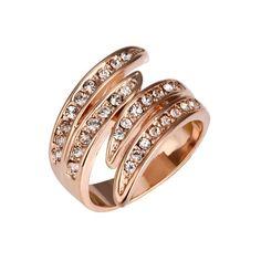 Cheap Swarovski Elements Crystal Golden Plumage Finger Ring SWFR007 R7 $3.5