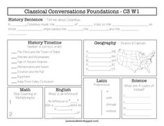 classical conversations homeschool curriculum cycle 3 weekly sheets fill in the blank