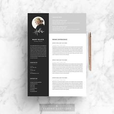 5 page Resume Template | Blackie by The.Resume.Boutique on @creativemarket