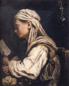Girl Reading (c.1620). Domenico Fetti (Italian, c.1589-1623). Oil on canvas. Fetti has light on the book, then darkness, and then the greater light on the girl's face. There is grace in the...