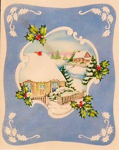 Vintage Embossed Holly Cabin Winter Snow Christmas Christmas Greeting Card