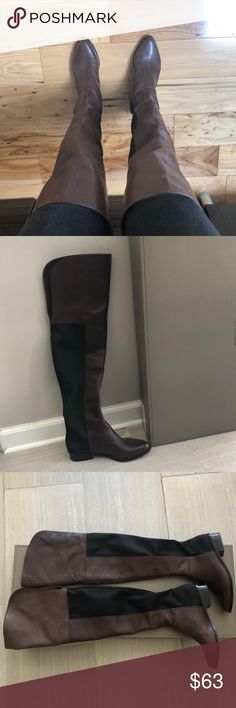 BCBG Thigh High (Over Knee) Riding Boots Worn 3 times, in good condition, some scratches on leather which is expected on smooth leather. Brown/ expresso color. Thigh high, about 4 inches past knee, back opening for mobility. BCBG Shoes Over the Knee Boots