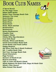 Looking for some ideas on Book Club Names? Here you will find listed a good list to help you start thinking about your own Book Club Name. Up Book, Book Club Books, New Books, Books To Read, Book Clubs, Book Lists, Book Club Parties, Kids Book Club, Teen Book Club Ideas