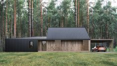 architecture I design I interiors Prefabricated Houses, Prefab Homes, Modular Homes, Modern Barn, Wooden House, House In The Woods, Planer, Building A House, Architecture Design
