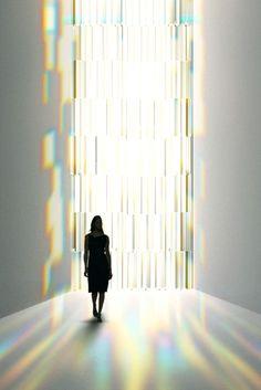 Tokujin Yoshioka - Rainbow Church (2010), a window installation of 500 crystal prisms refracting light.