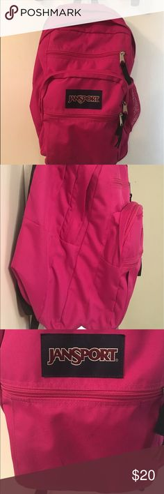 """Jansport Big 🎒 Backpack Pink Pen marks on from see photo.                      durable 600-denier polyester webbed carry handle flexible softside design loop-style carry handle ergonomic, S-curve adjustable shoulder straps two large main interior compartments 3 front exterior pockets with organizer; side water bottle pocket fully padded back panel Polyester. Measures 13x10x17½""""H; weighs 1½ pounds. Clean with a damp cloth. Imported. ** borrowed from JCPenney Jansport Bags Backpacks"""