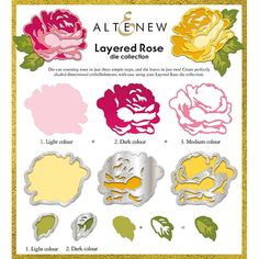 Simply Cards & Papercraft Magazine 174 had this awesome Altenew Rose layered stamp die! Hobbies And Crafts, Diy And Crafts, Paper Crafts, Flower Svg, Flower Cards, Die Cut Cards, Altenew, Stamping Up, Flower Making