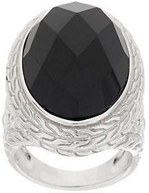 As Is Fado Sterling Silver Forget-Me-Not Black Onyx Ring