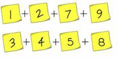 Cambia 2 post-it de sitio e iguala las sumas.