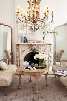 Glass beads bathe the resplendent, handcrafted Draped Bijoux Chandelier, just suited for a dramatic dining room or entryway. Paris Chic, Parisian Chic Decor, Foyers, My New Room, Beautiful Interiors, Country Decor, Decoration, Home And Living, French Living Rooms