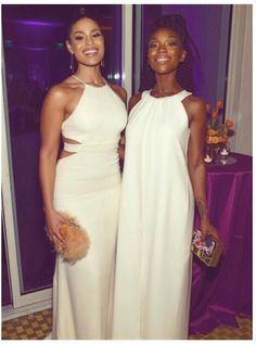 """celebritiesofcolor: """" Jordin Sparks and Brandy attend the 2016 Pre-GRAMMY Gala and Salute to Industry Icons honoring Irving Azoff at The Beverly Hilton Hotel on February 2016 in Beverly Hills,. Black Is Beautiful, Beautiful Women, Brandy Norwood, Jordin Sparks, The Beverly, Beverly Hilton, All White, White Dress, Gowns"""