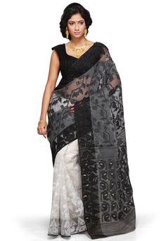 Black Cotton and Silk Jamdani Bengal Handloom Saree with Blouse