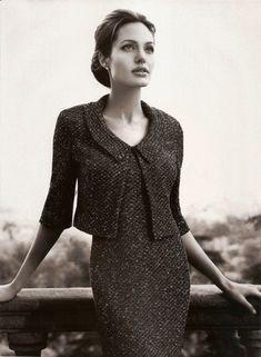 Classic tweed sheath and jacket. Angelina Jolie.
