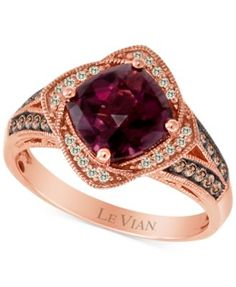 Le Vian Raspberry Rhodolite (2-3/8 ct. t.w.) and Diamond (1/4 ct. t.w.) Ring in 14k Rose Gold