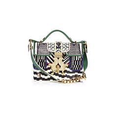 Giancarlo Petriglia Mini P Bag ($1,560) ❤ liked on Polyvore featuring bags, handbags, shoulder bags, snake, mini handbags, white handbags, mini purse, polka dot handbag and metallic handbags