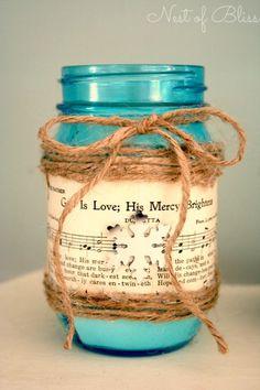 Super diy candles in mason jars sheet music Ideas Mason Jar Candles, Mason Jar Crafts, Mason Jar Diy, Diy Candles, Sheet Music Crafts, Ball Jars, Decorated Jars, Jar Gifts, Bottles And Jars