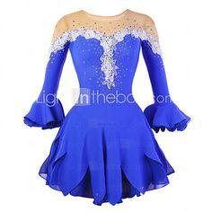 41b51a063993 Vestito da pattinaggio artistico Per donna Da ragazza Pattinaggio sul  ghiaccio Vestiti Blu Floreale Elevata elasticità Addestramento Competizione Vestiti  da ...