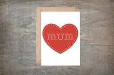 Mum Greetings Card  Mum heart with cross stitch font  This typographic greetings card is blank inside, making it perfect for mothers day, mums birthday, mother of the bride or just because.  DETAILS - White greetings card with typographic design with cross stitch font.   Blank Inside for your message .