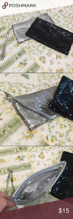 """FINAL PRICE/DELETING Black/silver wristlet bundle Black & silver wristlet bundle both for one price. Black is missing wristlet part but otherwise these are in good condition. Approx 7.5"""" x 4""""💃🏻  🍥Bundle deals available (I carry various sizes and brands in my closet): 2 items 10% off, 3 items 15% off, 4 items or more 20% off.  🍥No trades, modeling, or lowball offers please. 🍥All reasonable offers accepted only through """"offer"""" button. Please submit offer willing to pay as I prefer to not…"""