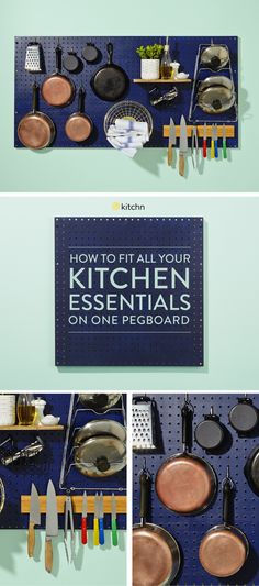 Use a Pegboard as a Kitchen Cabinet. Looking for DIY ideas for pegboard organization ideas in your kitchen or on your walls? Try this clever display with a knife rack and hanging pot, pan, and lid storage. Perfect for meal planning or just making cooking simpler. Free up some space on your counter tops.