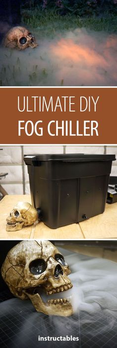Ultimate DIY Fog Chiller In just a couple hours you can make the ultimate fog chiller that will emit fog from the mouth of a skull. The fog stays a couple inches off the grass and swirls around your feet when you walk through it. Halloween Prop, Halloween Tags, Halloween 2018, Couples Halloween, Halloween School Treats, Fairy Halloween Costumes, Halloween Party Supplies, Dollar Store Halloween, Diy Halloween Decorations