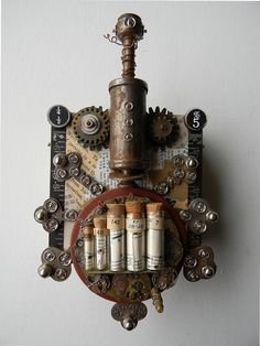 "Recycled Art Assemblage  -   ""Steampunk Bug""   -  Original Mixed Media. $110.00, via Etsy."