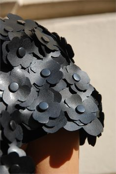Textured Embellishment - dress sleeve with leather flower applique; sewing; textiles; fashion detail // Noir Kei Ninomiya