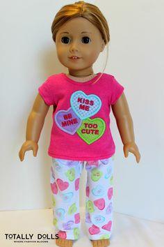 18 Inch American Girl Doll Clothing Pajamas Valentines Day Pastel Hearts by TotallyDolls American Doll Clothes, Ag Doll Clothes, Clothes Crafts, Doll Clothes Patterns, Doll Patterns, American Girl Diy, Girls Sleepwear, Journey Girls, Girl Dolls