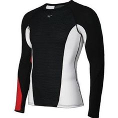 Mizuno Running Men's Breath Thermo Dynamotion Crew Tee, Medium, Black/Red Breath Thermo Thermal fabric yarn captures escaping body heat and, through a patented physical reaction in the yarn, generates heat - warming the body. Dynamotion Fit patterning is designed to improve fit during sports based on Biomechanical and Anatomical Research, offering freedom of movement. Thermo stretch double knit st... #Mizuno #Sports
