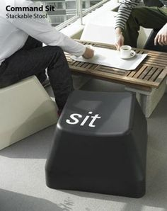 COMMAND SIT - stackable stool DESIGNER: Ross McBride Comfort at your fingertips. Big keyboard stackable chair for indoor and also outdoor. Very unique and comfortable stool.