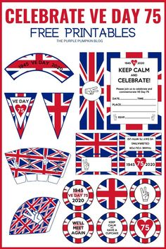These Free Printable VE Day Decorations are just what you need to commemorate the 75th anniversary of Victory in Europe Day. We might not be able to have the street parties as planned, but we can still celebrate at home or in the garden! Everything you need to have an old fashioned British knees-up is included in this printable party set for VE Day 75. #VEDay #FreePrintables #FreePrintableVEDayDecorations #ThePurplePumpkinBlog #PartyPrintables #VEDay75