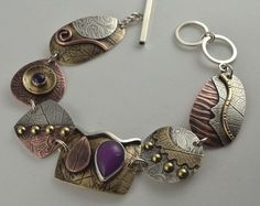 Purple Jade Bracelet Mixed Metal Bracelet   by DeborahCloseDesigns