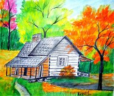Fancy's Art: Draw A house with beautiful landscape and Many tre. Easy Landscape Paintings, Small Canvas Paintings, Oil Pastel Paintings, Oil Pastel Art, Acrylic Painting Canvas, Watercolor Paintings, Oil Pastels, Pencil Sketches Landscape, Landscape Drawings