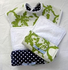 Burp cloths made from the cloth of your choosing and an old towel!