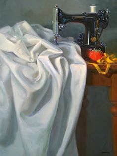 Sara Qualey Paintings: My Singer Still Life Drawing, Painting Still Life, Still Life Art, Fabric Painting, Painting & Drawing, Drapery Drawing, Realistic Paintings, Vintage Sewing Machines, Drawing Clothes