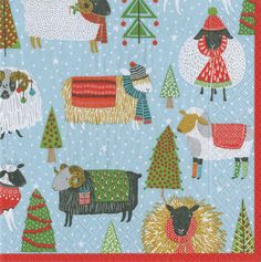 Caspari Warm and Wooly Christmas Sheep Printed 3-Ply Paper Cocktail Beverage Napkins Wholesale 14090C