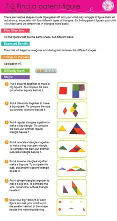 There are various shapes inside Spielgaben #7 and your child may struggle to figure them all out at once, especially with four different types of triangles. By finding parent figures your child will understand the differences in triangles more easily.
