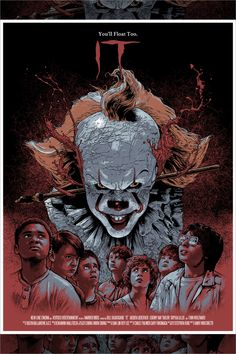 This poster is for the movie It. I like the old feel like everything is all around the same colors just adding different shades and tints. I also has a broken up or scratch up feel as well. Horror Movie Posters, Movie Poster Art, Poster Wall, Poster Prints, It The Clown Movie, Rock Poster, Club Poster, Vintage Horror, Photo Wall Collage