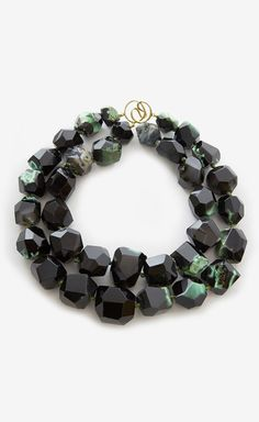 Chunky Black And Green Stone Necklace