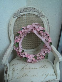 Large pink flower wreath by AnotherCosyShop on Etsy, $10.35