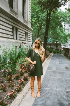 I am in love with these t shirt/shift kind of dresses. This color is perfect. Love olive green. I would wear gladiator sandals everyday if I could