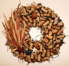 Wine Cork Wreaths with floral accents