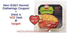 Have you seen the Hormel Gatherings Snack Trays? Yum! What an easy snack during a movie night or to take to a friend's! Check out how you can get one for only $3.79 @ Target!  Click the link below to get all of the details ► http://www.thecouponingcouple.com/hormel-gatherings-tray-coupon-target-deal-only-3-79/  #Coupons #Couponing #CouponCommunity  Visit us at http://www.thecouponingcouple.com for more great posts!