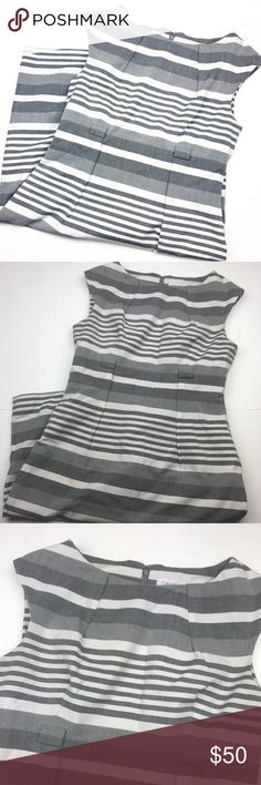 Calvin Klein Grey & White Striped Career Dress. Like new condition • Perfect outer condition • Flawed and ripped lining, see picture • Super cute design • No belt • Zippered back • Versatile • Length: 38 inches • Armpit to armpit (flat): 18 inches • Size 10. *** (#225). Calvin Klein Dresses Midi