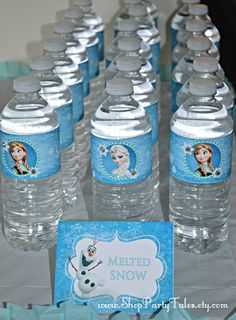 FROZEN disney princess Anna and Elsa Girl Birthday Party Printable Personalized water bottle labels disney